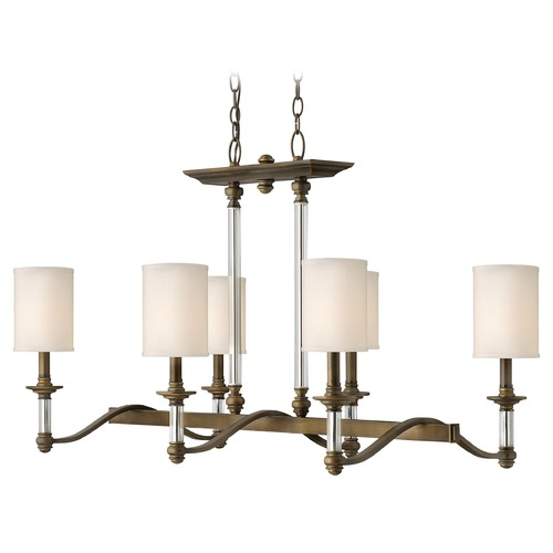 Hinkley Lighting Chandelier with Beige / Cream Shades in English Bronze Finish 4796EZ