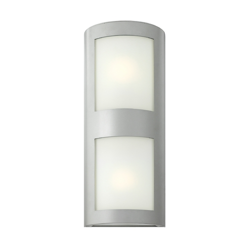 Hinkley Lighting Modern Outdoor Wall Light with White Glass in Titanium Finish 2025TT