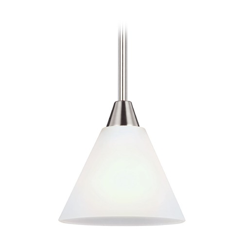 Sea Gull Lighting Sea Gull Lighting Ashburne Brushed Nickel Mini-Pendant Light with Conical Shade 6111201-962