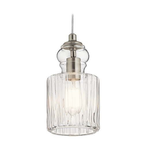 Kichler Lighting Transitional Pendant Light Brushed Nickel Riviera by Kichler Lighting 43957NI