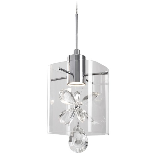 Kuzco Lighting Crystal Chrome LED Mini-Pendant with Clear Shade 3000K 300LM PD2705-CH