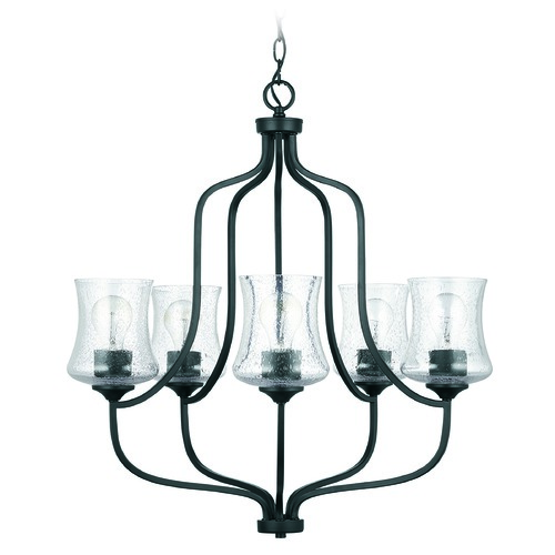 HomePlace by Capital Lighting HomePlace Reeves Matte Black 5-Light Chandelier with Clear Seeded Glass 439251MB-499
