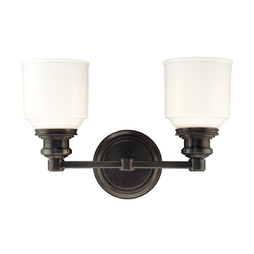 Hudson Valley Lighting Bathroom Light with White Glass in Old Bronze Finish 3402-OB