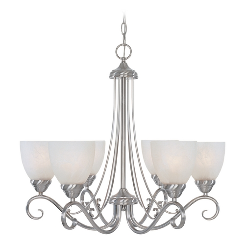 Designers Fountain Lighting Chandelier with Alabaster Glass in Satin Platinum Finish 98086-SP