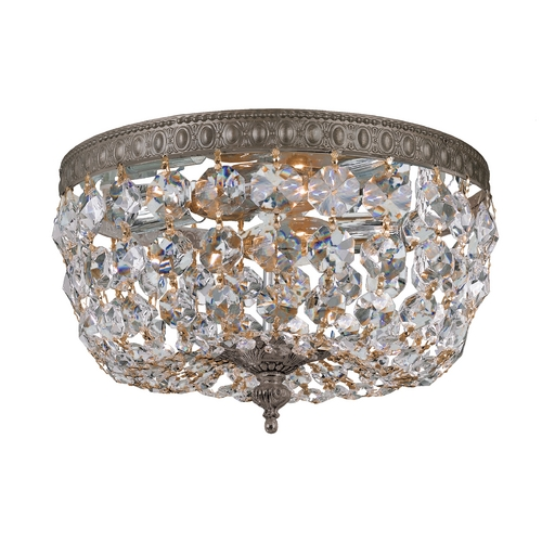 Crystorama Lighting Crystal Flushmount Light in English Bronze Finish 710-EB-CL-S