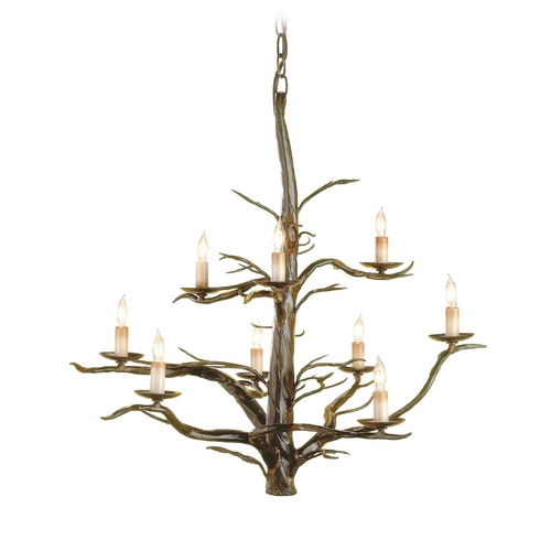 Currey and Company Lighting Branch Chandelier in Old Iron Finish 9327