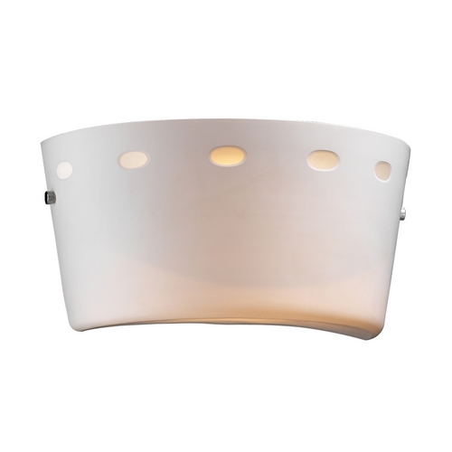 PLC Lighting Modern Sconce Wall Light with White Glass in Polished Chrome Finish 70043 PC