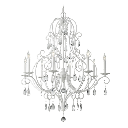 Feiss Lighting Crystal Chandelier in Semi Gloss White Finish F2303/8SGW