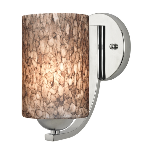 Design Classics Lighting Sconce with Brown Art Glass in Chrome Finish 585-26 GL1016C