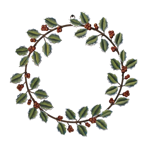 The Round Top Collection Holly Christmas Holiday Wreath Decoration C7024