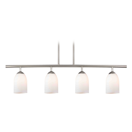 Design Classics Lighting Modern Island Light with White Glass in Satin Nickel Finish 718-09 GL1024D
