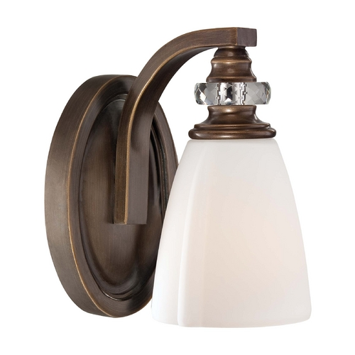Minka Lighting Sconce Wall Light with White Glass in Dark Noble Bronze Finish 6941-570