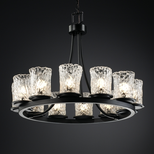 Justice Design Group Justice Design Group Veneto Luce Collection Chandelier GLA-8763-16-CLRT-MBLK