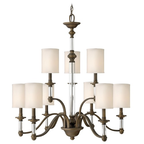 Hinkley Lighting Chandelier with Beige / Cream Shades in English Bronze Finish 4798EZ