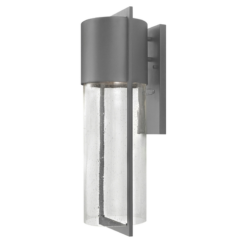 Hinkley Lighting Modern Outdoor Wall Light with Clear Glass in Hematite Finish 1325HE-GU24