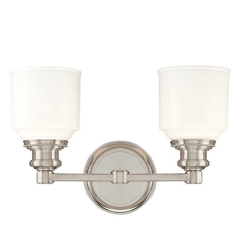Hudson Valley Lighting Bathroom Light with White Glass in Polished Nickel Finish 3402-PN