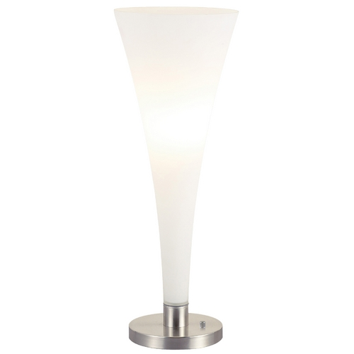 Adesso Home Lighting Modern Table Top Torchiere Lamp with White Glass in Satin Steel Finish 3077-22
