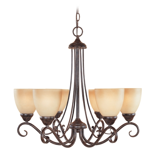 Designers Fountain Lighting Chandelier with Amber Glass in Warm Mahogany Finish 98086-WM