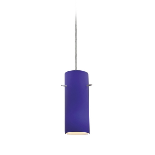 Access Lighting Modern Mini-Pendant Light with Blue Glass 28030-2C-BS/COB