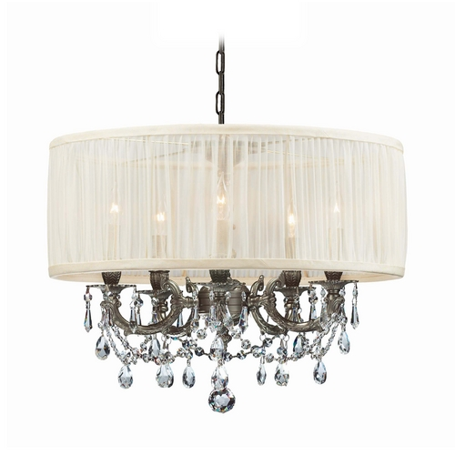 Crystorama Lighting Crystal Mini-Chandelier with White Shade in Pewter Finish 5535-PW-SAW-CLQ