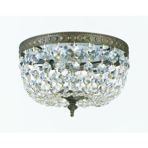 Crystorama Lighting Crystal Flushmount Light in English Bronze Finish 710-EB-CL-SAQ