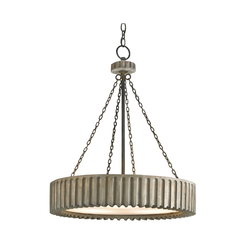 Currey and Company Lighting Modern Drum Pendant Light in Old Iron/washed Gray Finish 9326