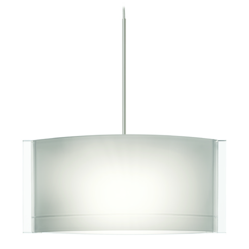Besa Lighting Besa Lighting Jodi Satin Nickel Mini-Pendant Light with Oblong Shade 1XT-673006-SN