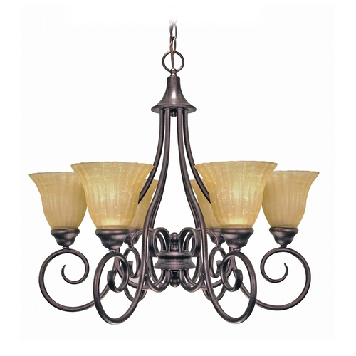 Nuvo Lighting Chandelier with Beige / Cream Glass in Copper Bronze Finish 60/010