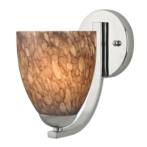 Design Classics Lighting Sconce with Brown Art Glass in Chrome Finish 585-26 GL1016MB