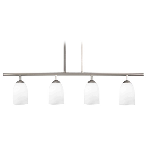 Design Classics Lighting Modern Linear Pendant Light with 4-Lights and White Glass in Satin Nickel Finish 718-09 GL1028D