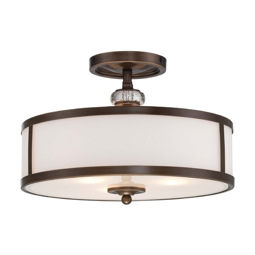 Minka Lavery Semi-Flushmount Light with White Glass in Dark Noble Bronze Finish 4942-570