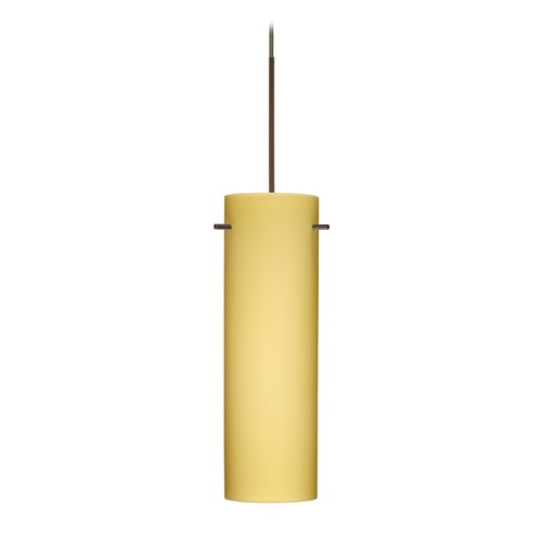 Besa Lighting Besa Lighting Copa Bronze LED Mini-Pendant Light with Cylindrical Shade 1XT-4930VM-LED-BR