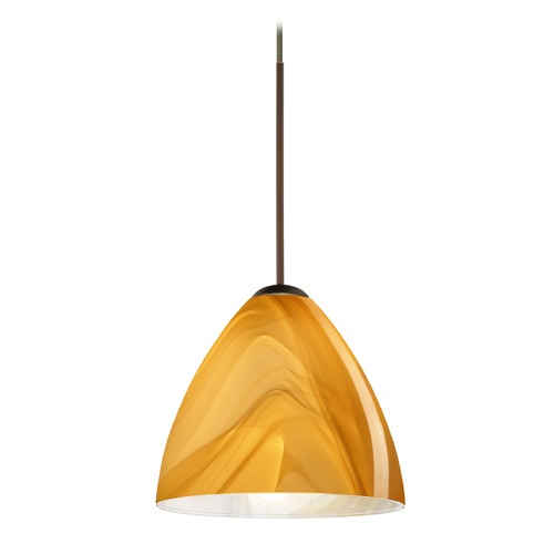 Besa Lighting Besa Lighting Mia Bronze Mini-Pendant Light with Bell Shade 1XT-1779HN-BR