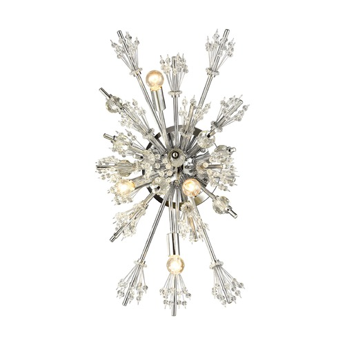 Elk Lighting Mid-Century Modern Crystal Sconce Cluster Light Chrome Starburst by Elk Lighting 11747/4