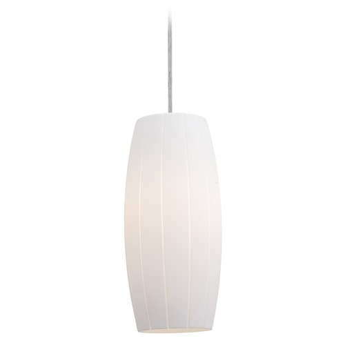 Access Lighting Access Lighting Cognac Brushed Steel Mini-Pendant Light with Oblong Shade 28070-4C-BS/WHT