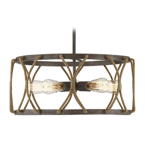 Savoy House Rust Pendant Light with Drum Shade Keating Collection by Savoy House 7-5300-5-32