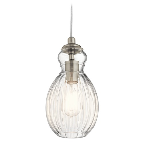 Kichler Lighting Transitional Pendant Light Brushed Nickel Riviera by Kichler Lighting 43959NI