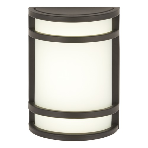 Minka Lavery Modern Outdoor Wall Light with White Glass in Oil Rubbed Bronze Finish 9801-143