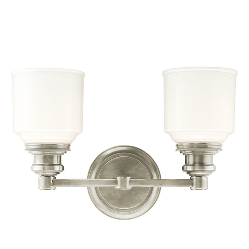 Hudson Valley Lighting Bathroom Light with White Glass in Satin Nickel Finish 3402-SN