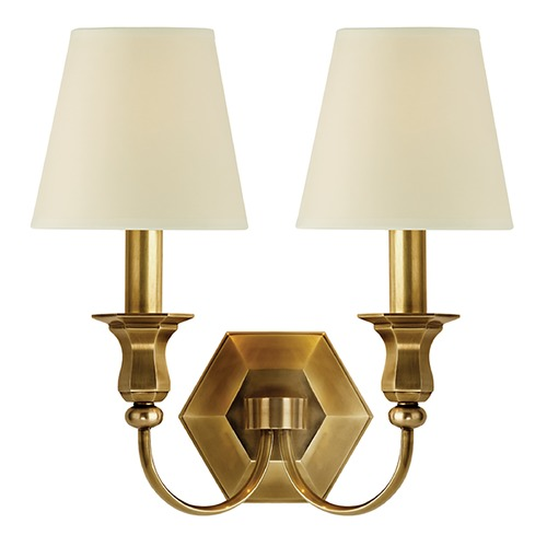 Hudson Valley Lighting Sconce Wall Light with Beige / Cream Paper Shades in Aged Brass Finish 1412-AGB