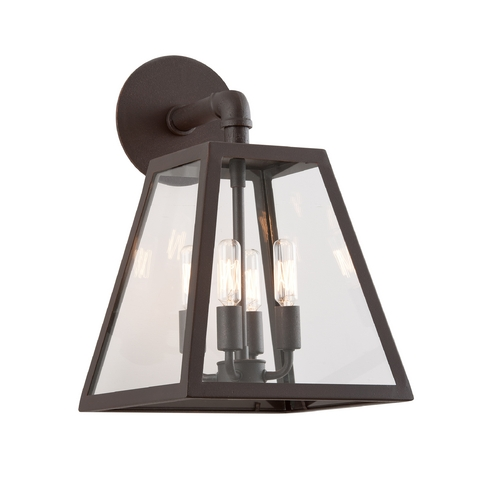 Troy Lighting Outdoor Wall Light with Clear Glass in River Valley Rust Finish BCD3433-C