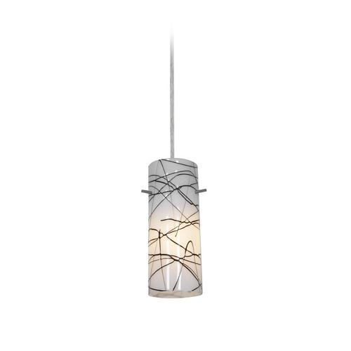 Access Lighting Modern Mini-Pendant Light with White Glass 28030-2C-BS/BLWH