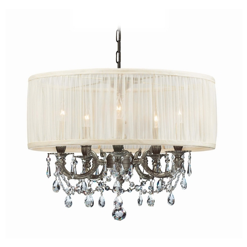 Crystorama Lighting Crystal Mini-Chandelier with White Shade in Pewter Finish 5535-PW-SAW-CLS