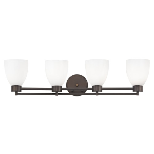 Design Classics Lighting Modern Bathroom Light with White Glass - Four Lights 704-220 GL1024MB