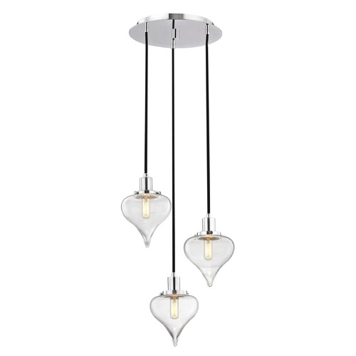 Design Classics Lighting Modern Teardrop 3-Light Multi-Pendant Light in Chrome Finish 1820-26