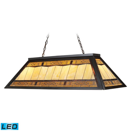 Elk Lighting Elk Lighting Filigree Tiffany Bronze LED Billiard Light with Rectangle Shade 70113-4-LED