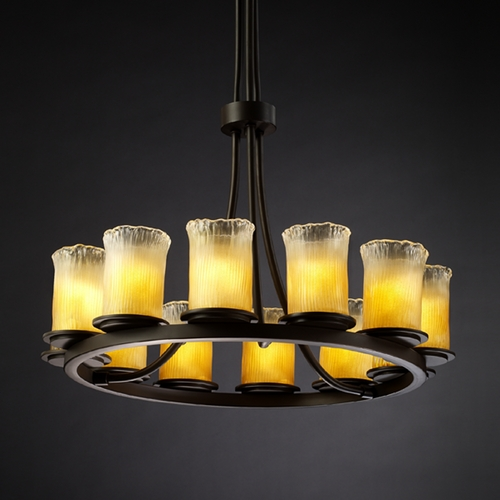 Justice Design Group Justice Design Group Veneto Luce Collection Chandelier GLA-8763-16-GLDC-DBRZ