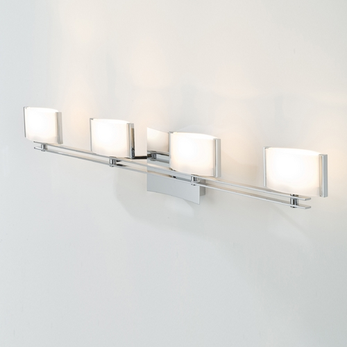 Holtkoetter Lighting Holtkoetter Modern Bathroom Light with White Glass in Chrome Finish 5584 CH GB50