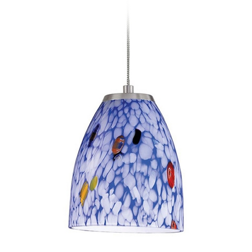Elk Lighting Low Voltage LED Mini-Pendant Light with Blue Glass PF1000/1-LED-BN-BL