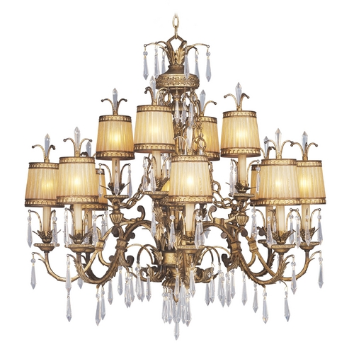 Livex Lighting Livex Lighting La Bella Vintage Gold Leaf Crystal Chandelier 8888-65